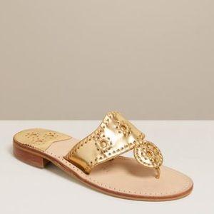 Gold Jack Rogers Flat Sandal